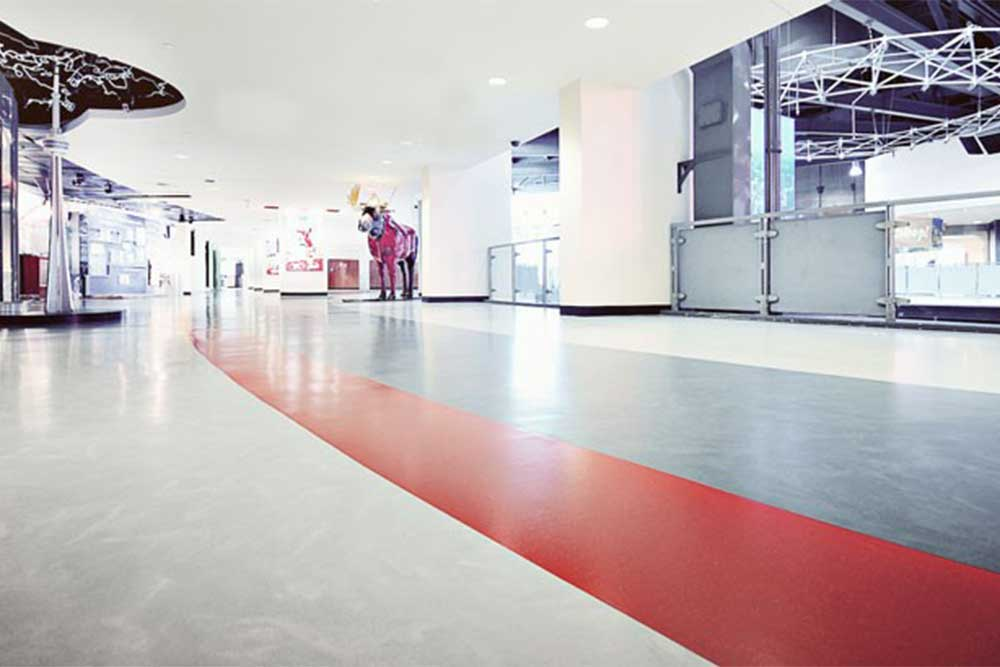 Screed rubber is smooth rubber with painted concrete appearance and available form Chroma Global Flooring