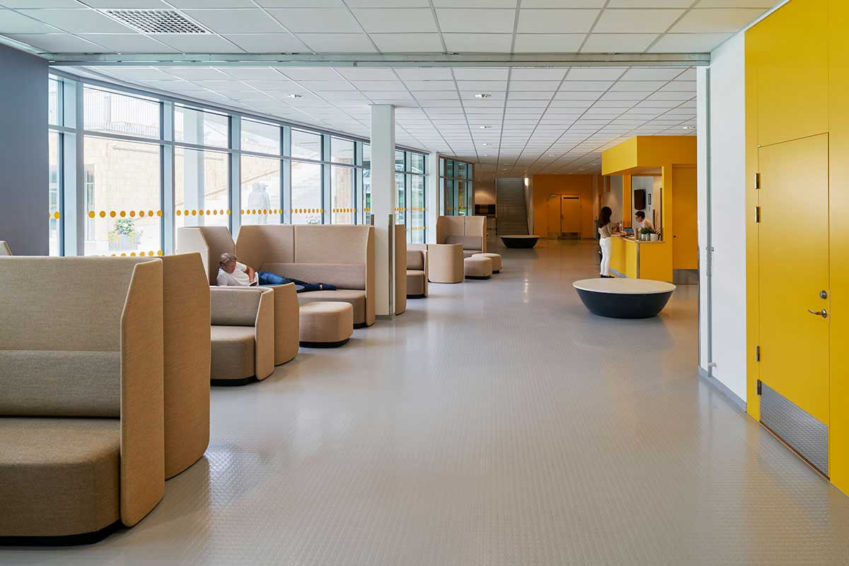 Rubber is perfect for Vaxholm Campus. Artigo Granito Elastic & BS Strong, available from Chroma Global Flooring Solutions