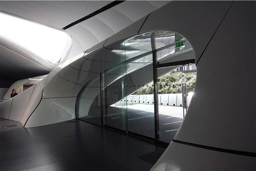 Zaha Hadid used Multifloor ND UNI in her mobile art pavillion. Rubber flooring available from Chroma Global in the UK