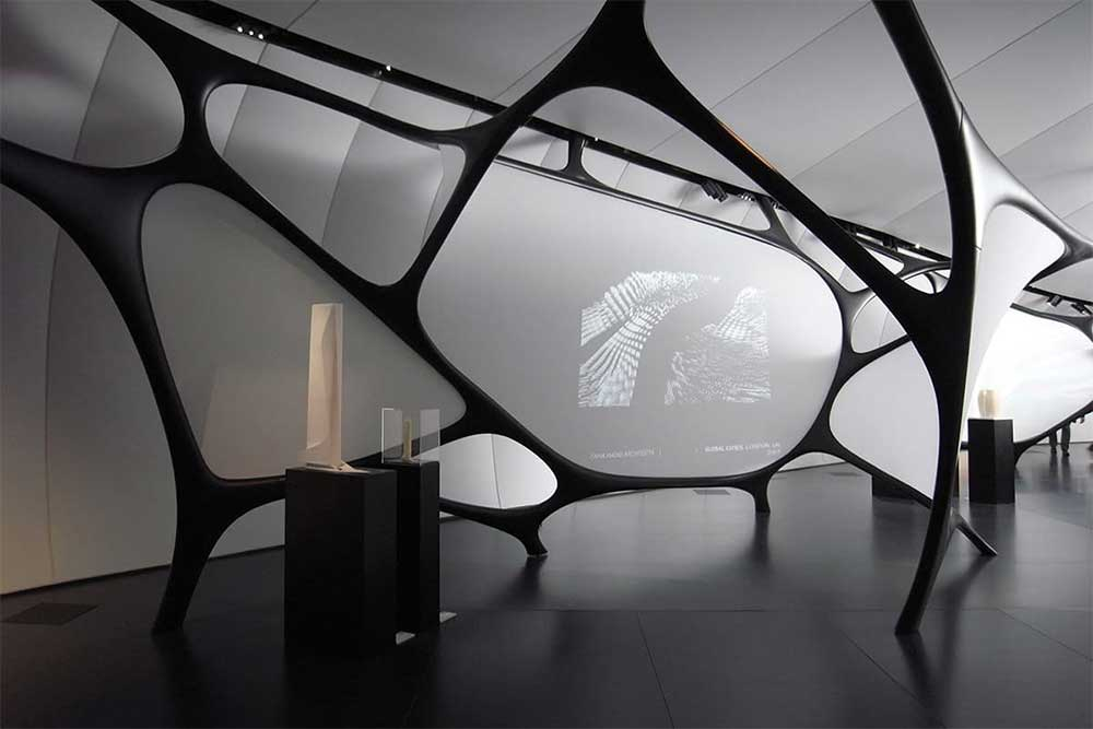 Architect Zaha Hadid proves Artigo rubber flooring is elegant and strong and available from Chroma Global in the UK
